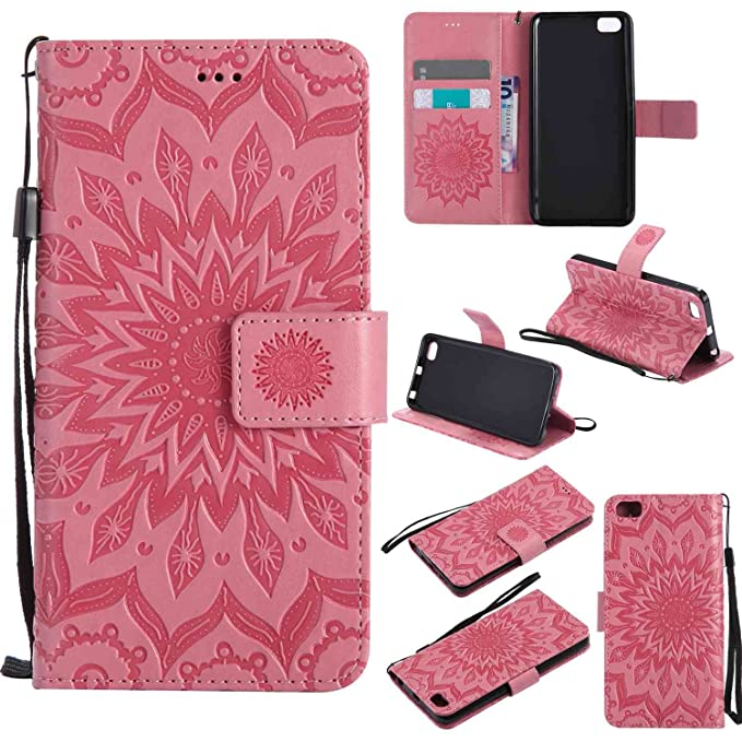 pinlu® Flip Funda de Cuero para Xiaomi Mi5 Carcasa con Función de Stent y Ranuras con Patrón de Girasol Cover (Rosa)