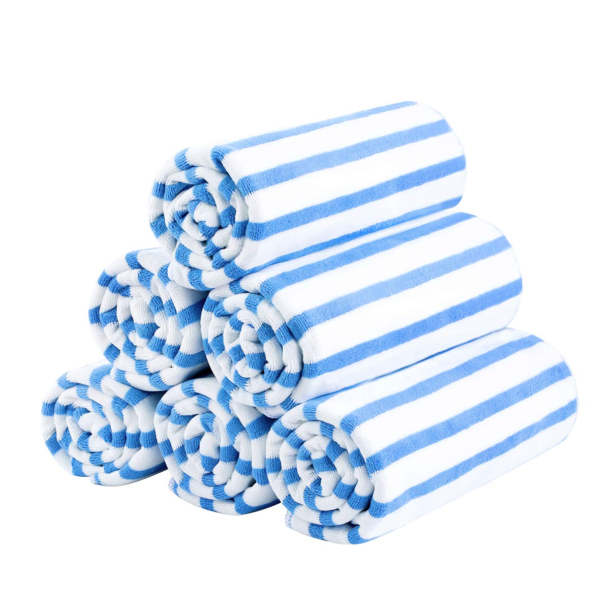 JML Microfiber Bath Towel, Beach Towels (6 Pack, 27'' x 55'') - Cabana Stripe - Multi Purpose Towels for Pool, Sport, Yoga, Camping, Swimming, Blue
