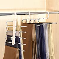 lanliebao 2 Pack Adjustable 5 in 1 Pants Hangers,Multi-Layer Hanger Made of Plastic & Aluminum for Wardrobe,Home Storage…