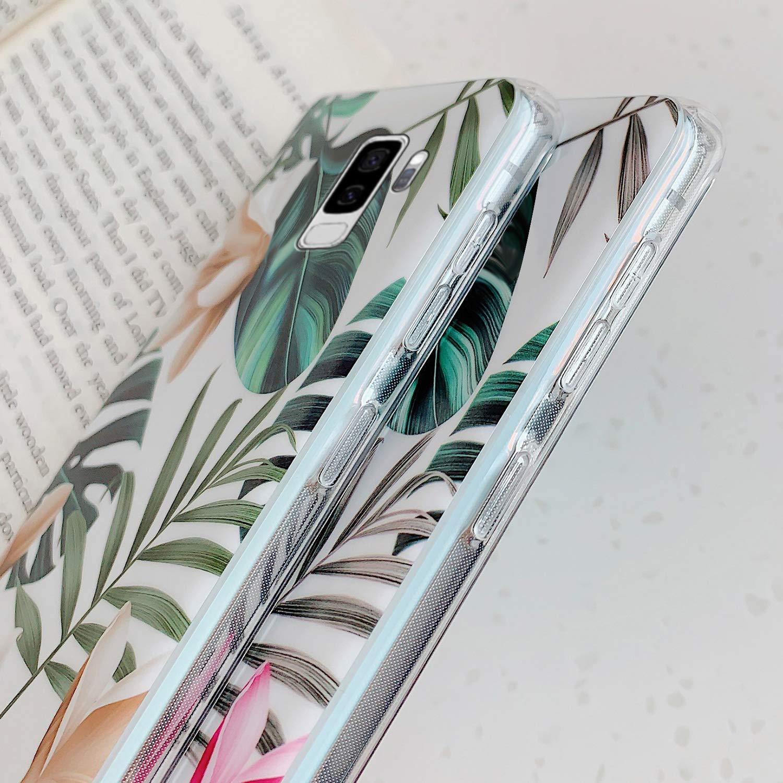 Uposao Kompatibel mit Samsung Galaxy S9 Plus H/ülle Silikon Ultra D/ünn Handyh/ülle 3D Blumen Bl/ätter Bunt Muster Weich TPU Schutzh/ülle Etui Kratzfest TPU Bumper Handytasche Case Cover,Wei/ß Blume