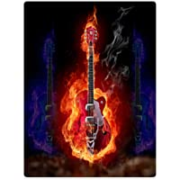 Blankets Fleece Blanket Throw for Sofa Bed Hellfire Fire Music Guitar Soul 60 x 80