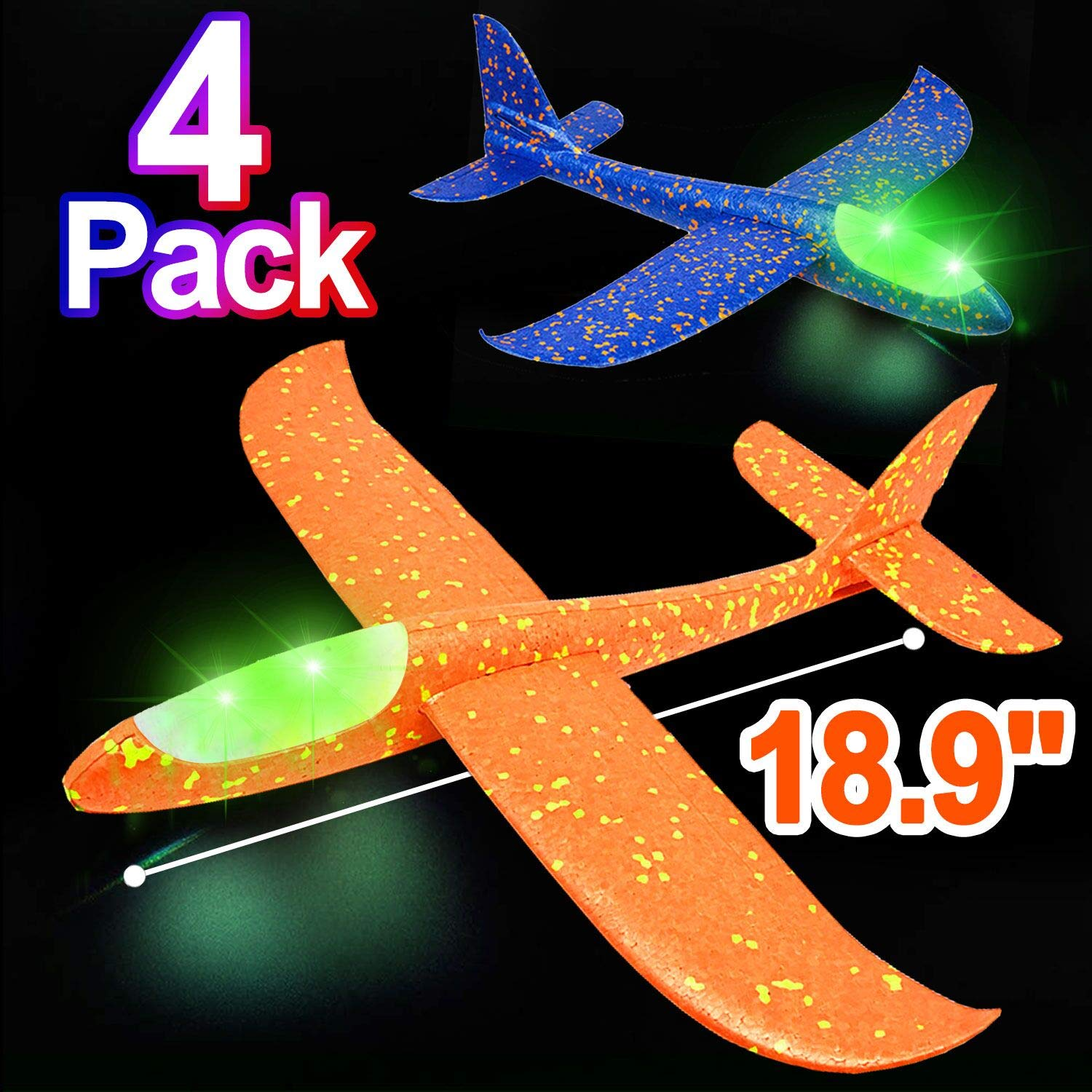 4 Pack 18.9'' Foam Airplane Toys for Kids, Large LED Light Up Throwing Plane Foam Glider Airplane Outdoor Sport Flying Toys for Boys Girls, Flying Game Toy Gift for Kids (A- 4P LED Foam Airplane Toys)
