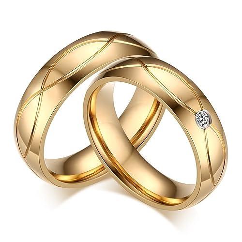 KNSAM - Anillos de bodas de acero inoxidable dorado para pareja, pendientes de cristal colgante