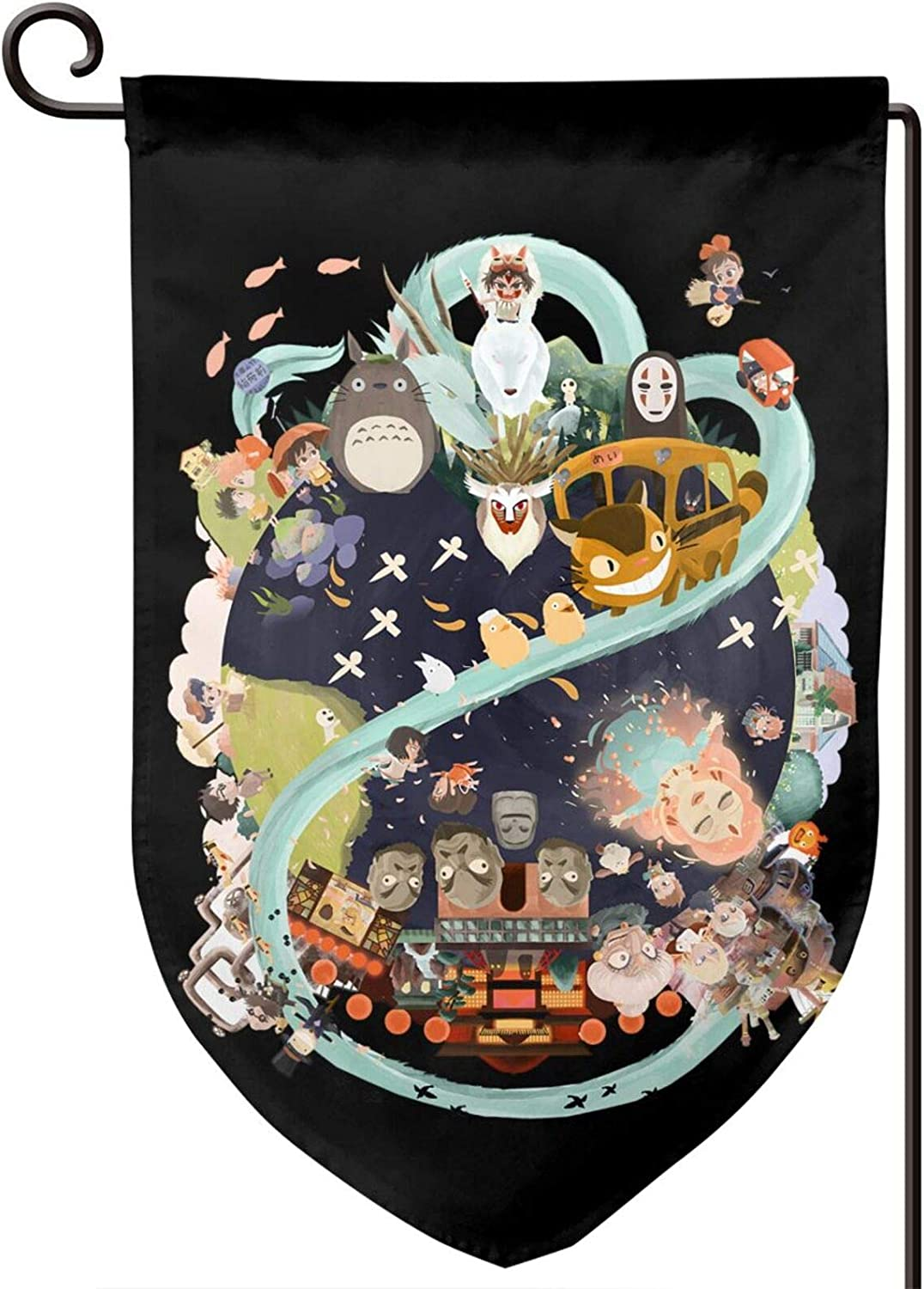 Yhdsaihvnbs Studio Ghibli Seasonal Outdoor Garden Flag, Double Sided Yard Flag, Holiday Spring Decorations for Home Yard Outdoor, Decorative Sign, 12.5 X 18 Inch