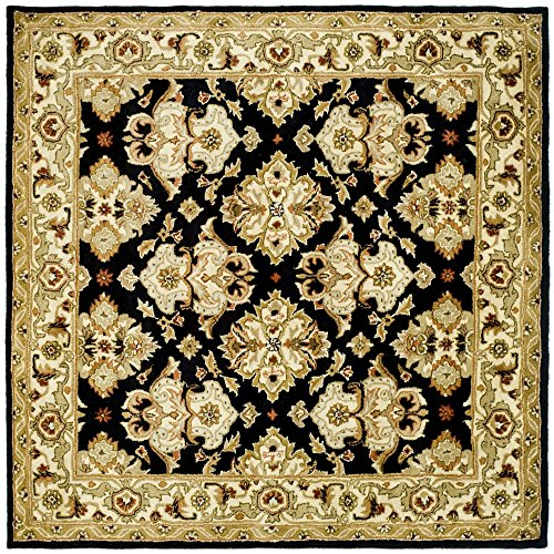 (Safavieh Heritage Collection HG817A Handcrafted Traditional Oriental Black and Ivory Wool Square Area Rug (6' Square))