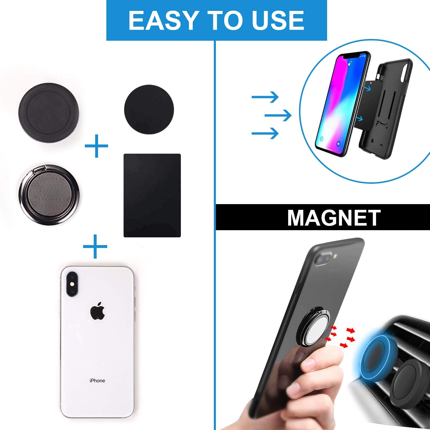 Rngeo Finger Ring Stand /& Magnetic Mount Set Compatible with All iPhone /& Android Smartphones Pack of 4 Universal Thin 360 Degree Rotation Phone Rings /& Air Vent Cell Phone Holder for Car