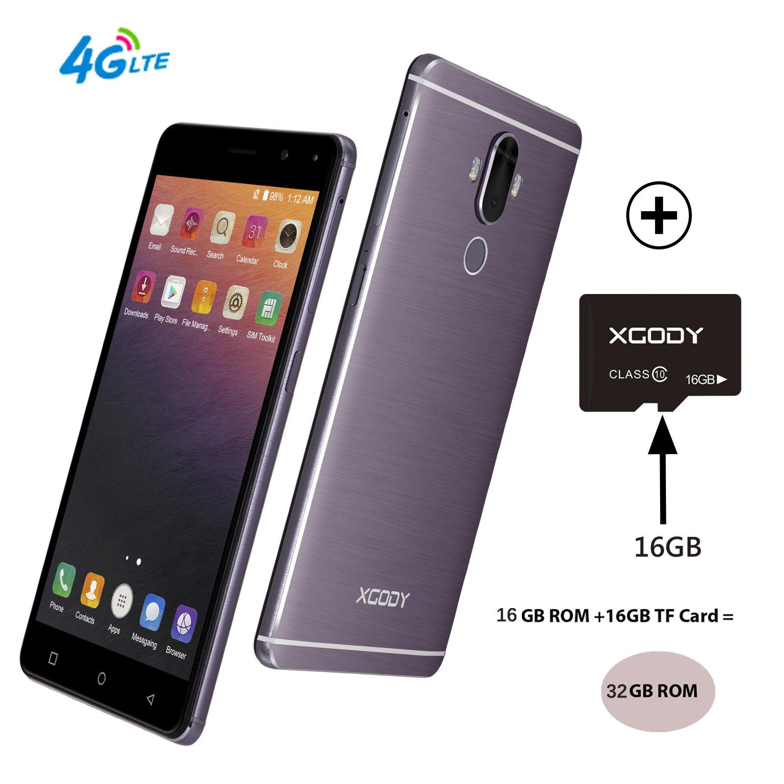 Xgody Y19 Unlocked Smartphones with fingerprint sensor 4G FDD-LTE Android 7.0 6 Inch Dual SIM HD 720x1280 32GB (16GB ROM+16GB SD card) Quad Core Support GPS Wi-Fi Bluetooth Celulares Gray purple