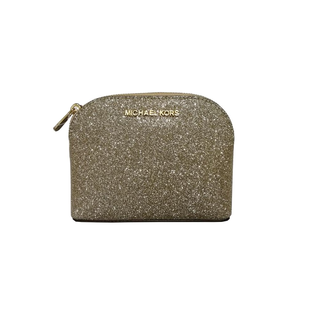 Michael Kors Glitter Leather Medium Cosmetic Case Travel Pouch Pale Gold by Michael Kors