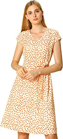 Allegra K Women's V Neck Printed Belted A-line Cap Sleeve Dress