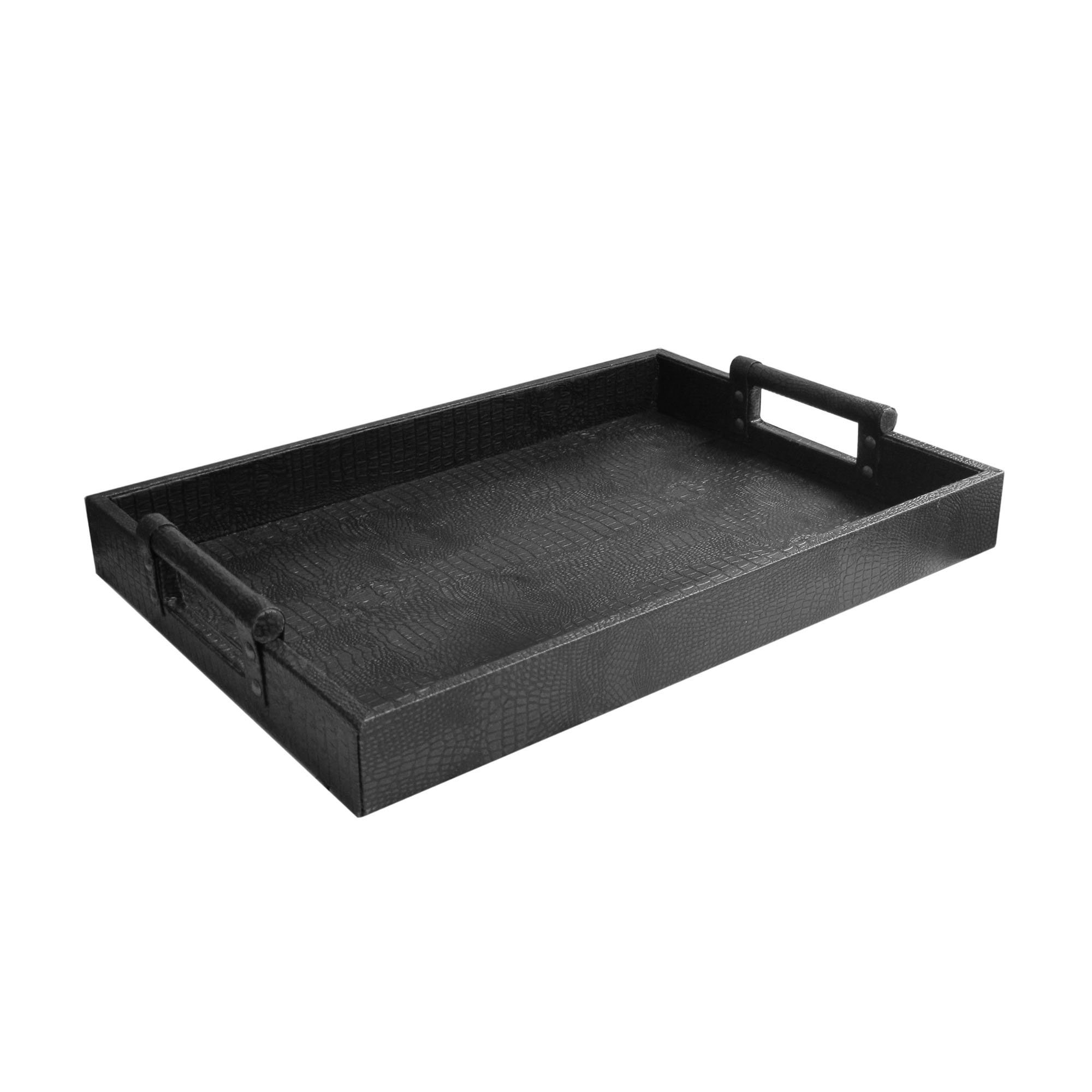 American Atelier 1183910 Leather Rectangle Serving Tray, Black