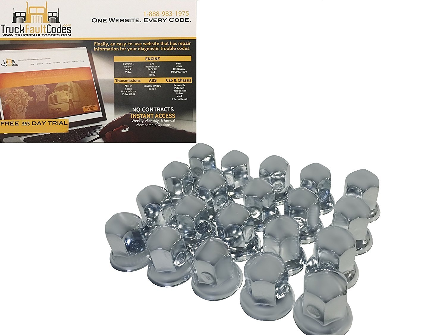 Diesel Laptops 20 Pack of 33mm x 2-5/8 Chrome Standard Stainless Push On Nut Cover for Commercial Heavy Semi Trucks with 12-month Membership to TruckFaultCodes