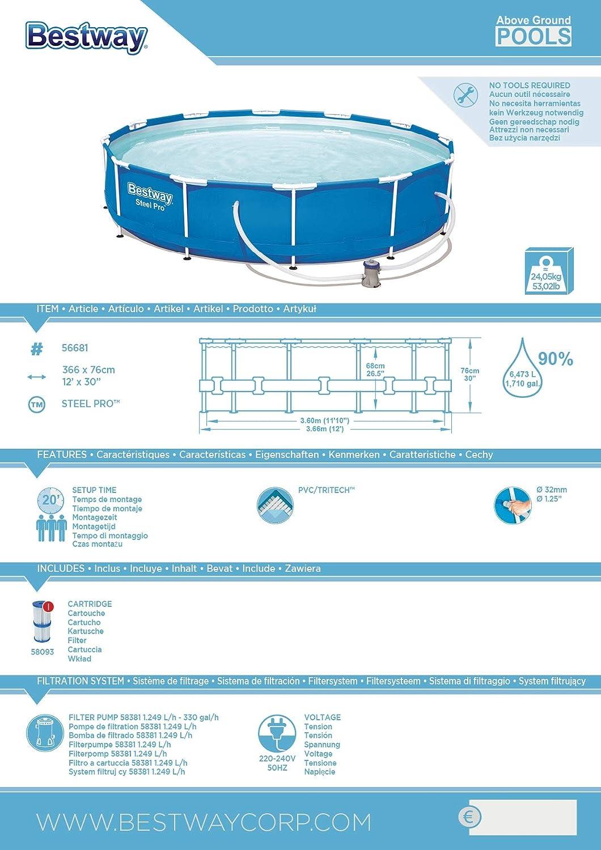 6473/L Blue 366/x 366/x 76/cm Bestway Steel Pro Frame Pool with Filter Pump