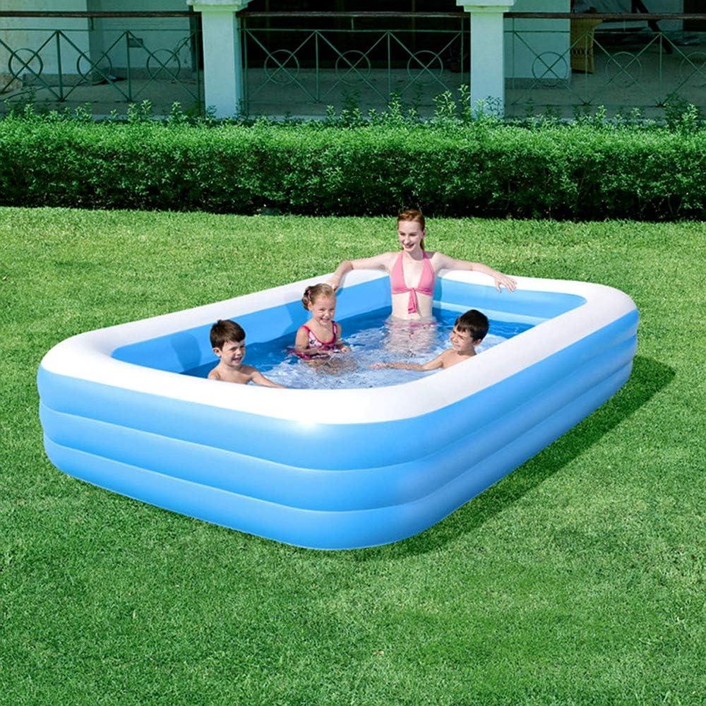 K99 Tres Anillos Rectangulares Piscina Hinchable para Niños Piscina De Juegos Interior Y Exterior Centro De Entretenimiento De La Piscina Inflable Bañera De Plástico 305 * 183 * 56Cm