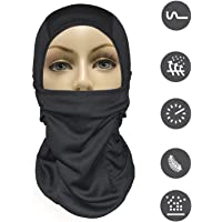 MJ Gear [9 in 1] Full Face Mask Motorcycle Balaclava Running Mask for Cold or Hot Weather Life Time Warranty (Black)