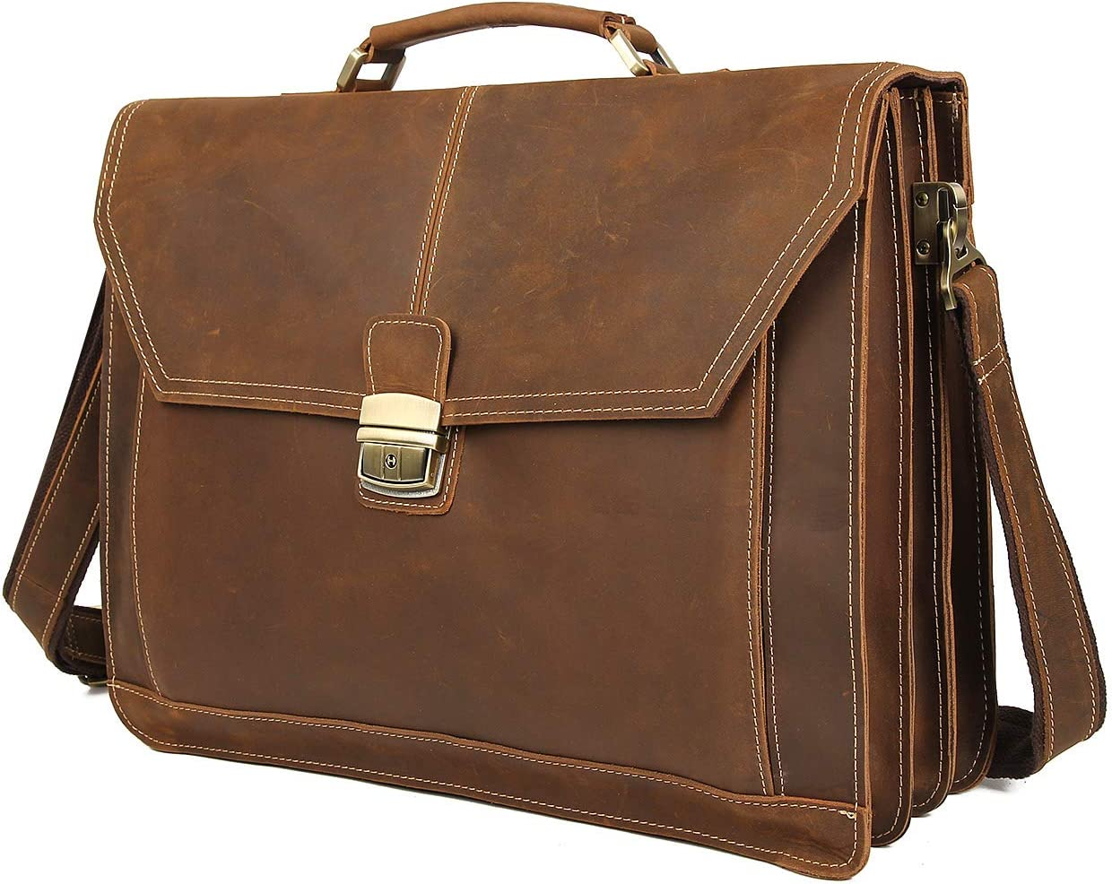 Texbo Men s Crazy Horse Leather Briefcase Messenger Bag Fit 16.5 Inch Laptop Tote