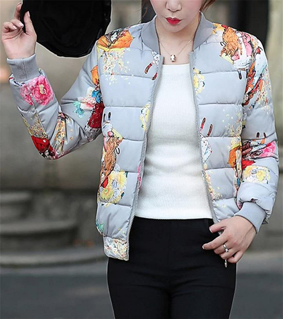JSY Womens Print Baseball Winter Warm Down Parka Bomber Coat