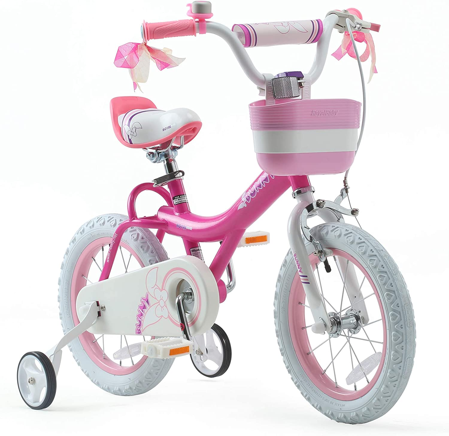 Amazon Com Royalbaby Girls Bike Bunny 12 Inch Girl S Bicycle With Training Wheels Basket Child S Girl S Bike Fuchsia Sports Outdoors