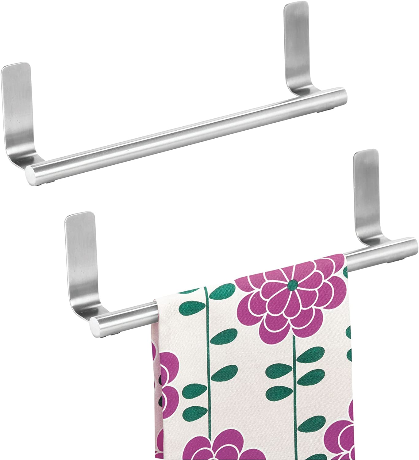 InterDesign Forma Self-Adhesive Towel Bar Holder for Bathroom or Kitchen Pack of 2 Brushed Stainless Steel