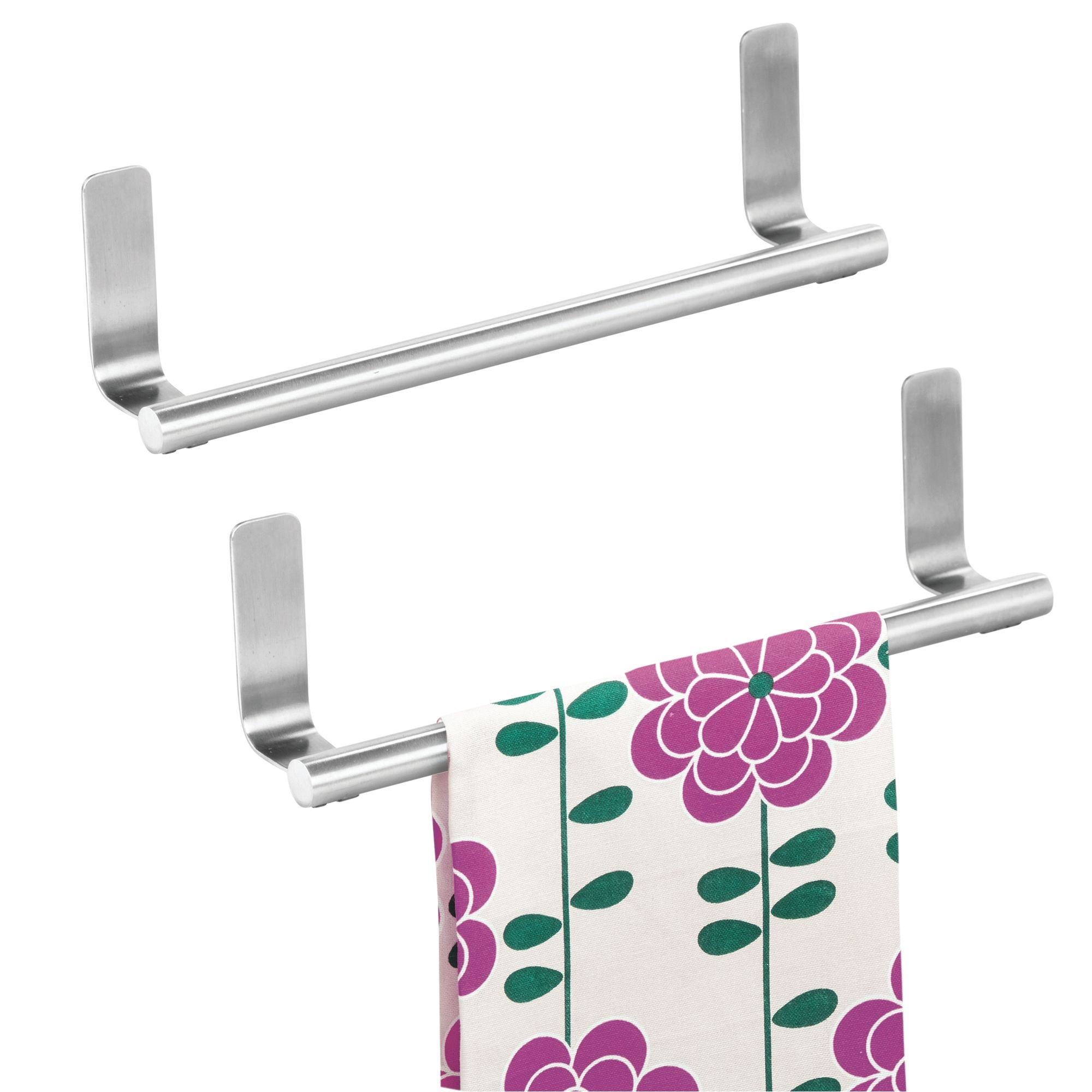 iDesign Forma Self-Adhesive Towel Bar Holder for Bathroom, Kitchen Walls, Cabinets, Above Counters, 9.75'' x 5.75'' x 2'', Set of 2, Brushed Stainless Steel by iDesign