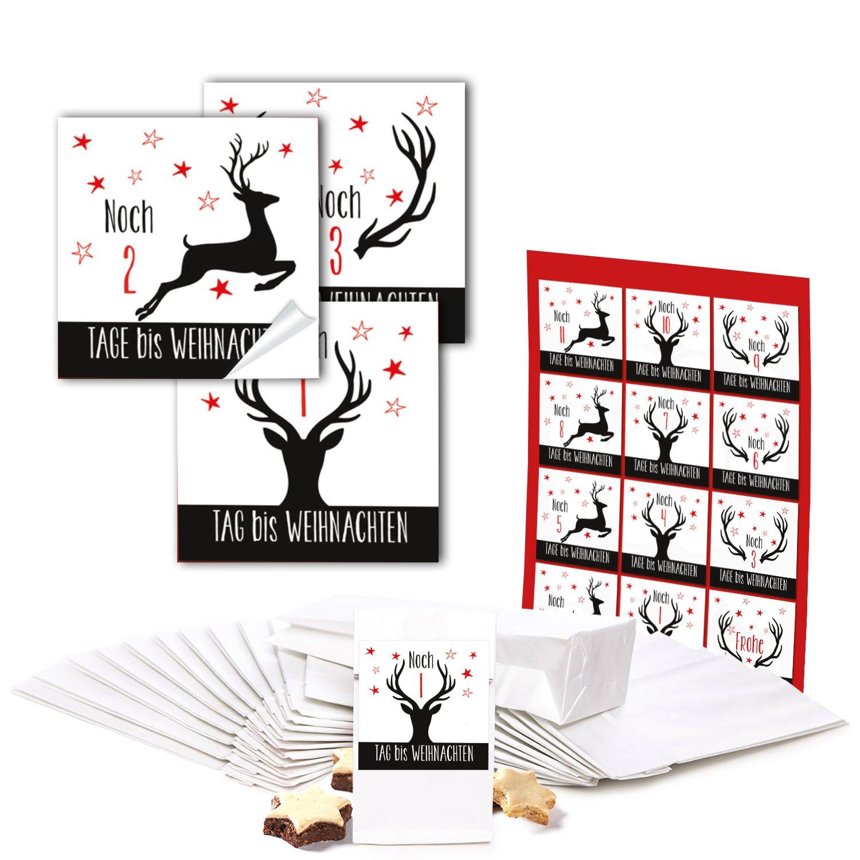 Amazon.de: Adventskalender selber-machen Bastel-Set: 24 weiße kleine ...