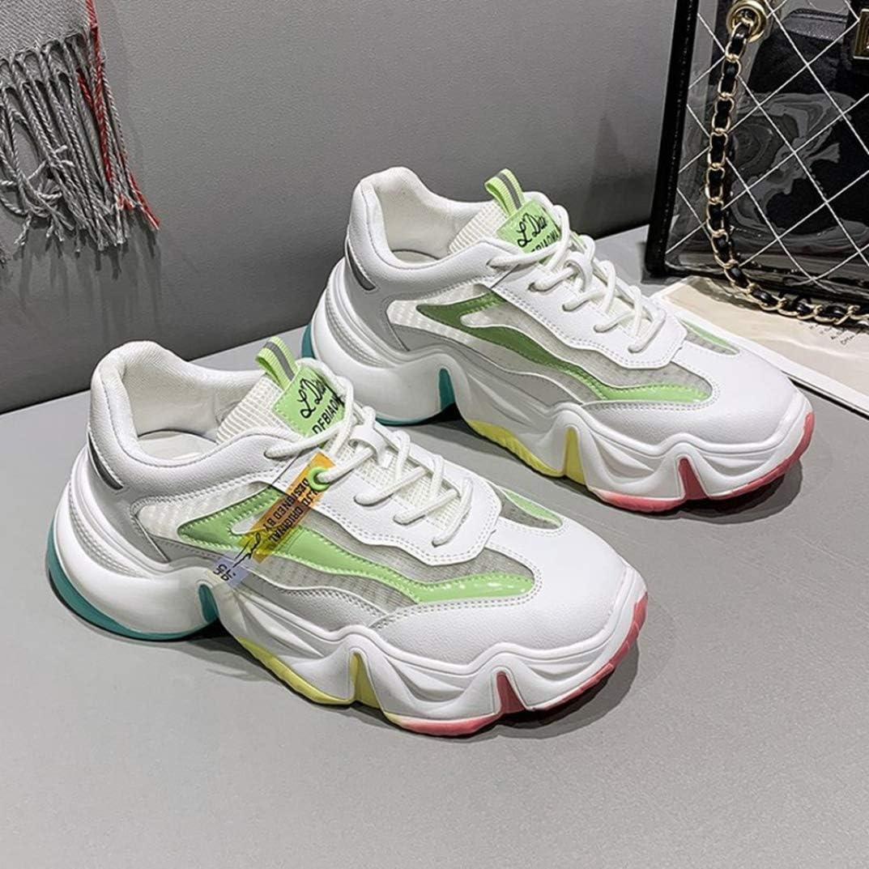 LangfengEU Chaussures de Sport en Printemps Été pour Femme Fond Épais Endurance Arc-en-gelée Étudiants Mode en Casual Tendance Confort Vert