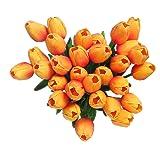 Fiori artificiali finti, tulipani in lattice, decorazione fai da te per matrimonio, stanza d'albergo, ecc., Orange, 10 pezzi