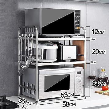 WENZHE Estantería Cocina Baldas Soporte Rack De Almacenamiento Horno Microondas Tipo De Piso Multifunción Acero Inoxidable