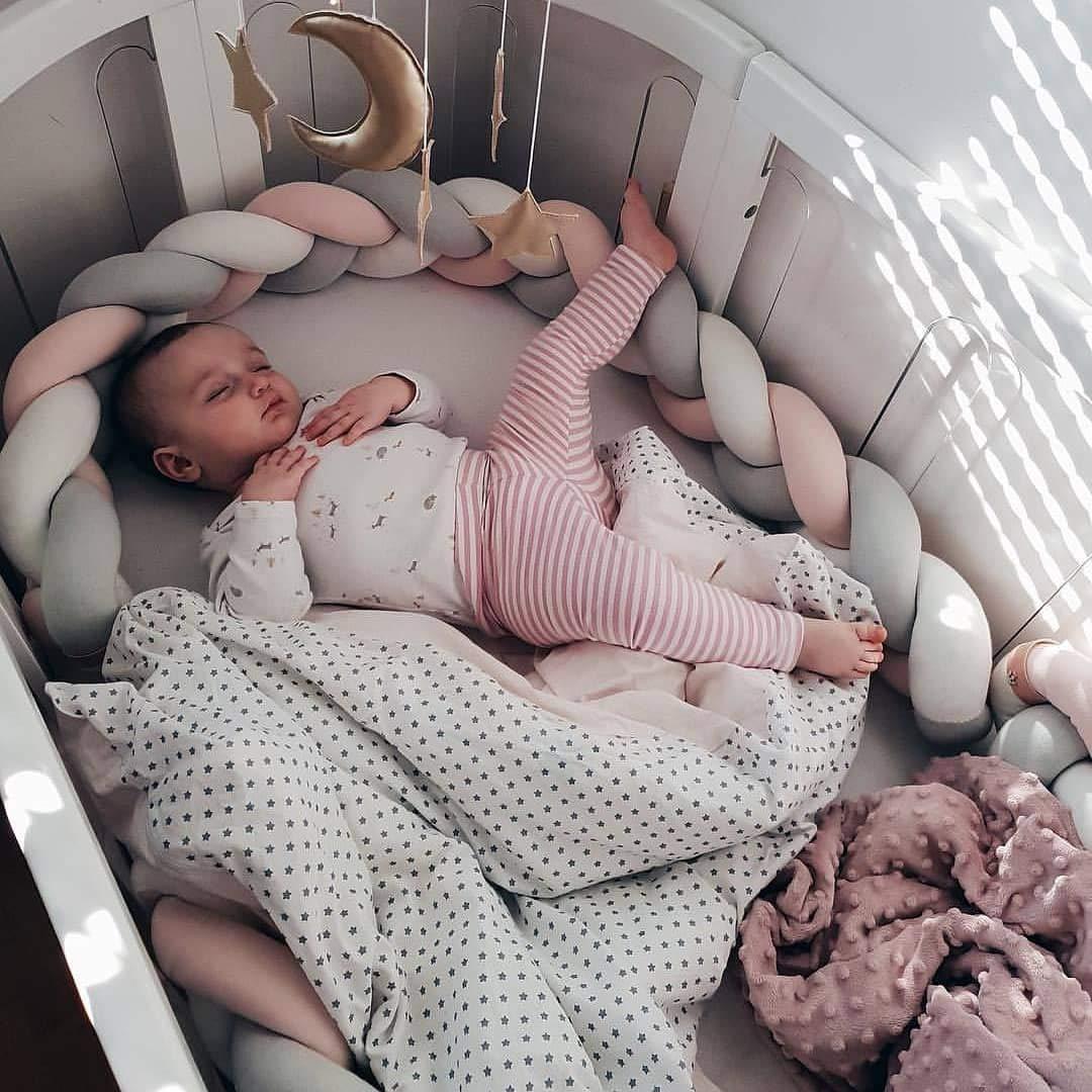 MOMAID Baby Braided Crib Bumper Knotted Plush Soft Nursery Toddler Crib Bedding Sets Decor Handmade Cradle Newborn Pillow Snuggle Sleep Bed Pads (White Gray Pink, Long:4M / 157INCH)