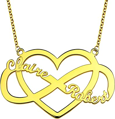 Getname Necklace Infinity Heart Necklace with 2 Birthstones Heart-Shaped Infinity Name Necklace Love Heart /& Birthstone Necklace Customized Pendent