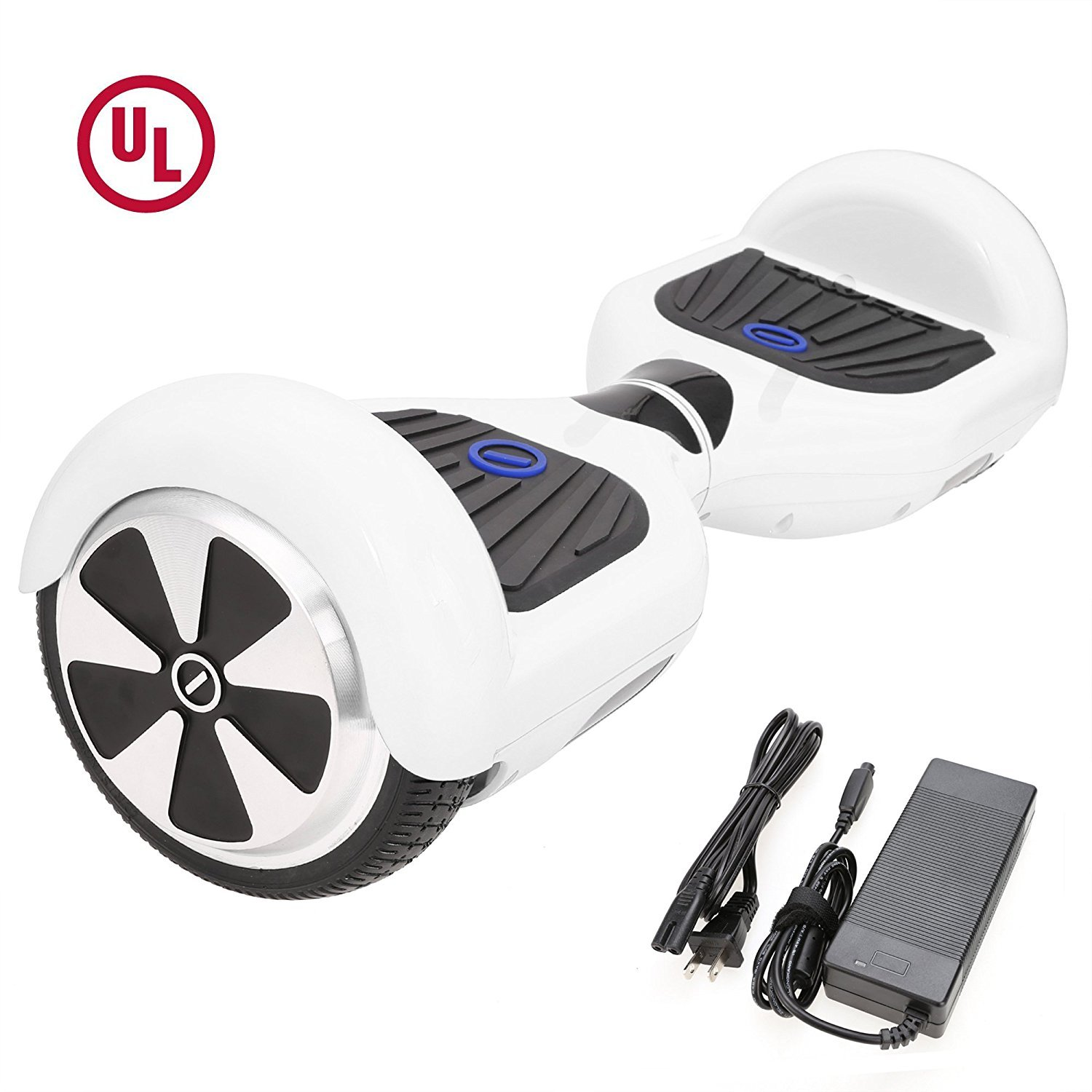 HIGH ROLLER 6.5'' waterproof Hoverboard with Buffing Shell UL 2272 Certified Self-Balancing Scooter with LED lights ,White