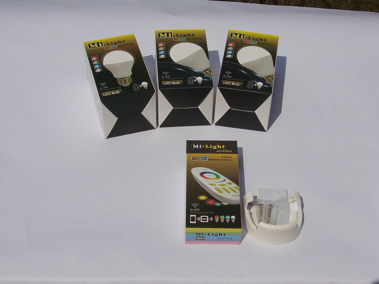 Mi-Light 2,4G 1x Fernbedienung 4 Zonen + 1 x Halterung für FB + 3 x E14 LED RGB+Warm Weiß Lampe 5 Watt original MILIGHT® , dimmbar, RGB Farbwechsel , System ist via Extra Mi-Light Wlan Controller ansteuerbar App IOS   Android