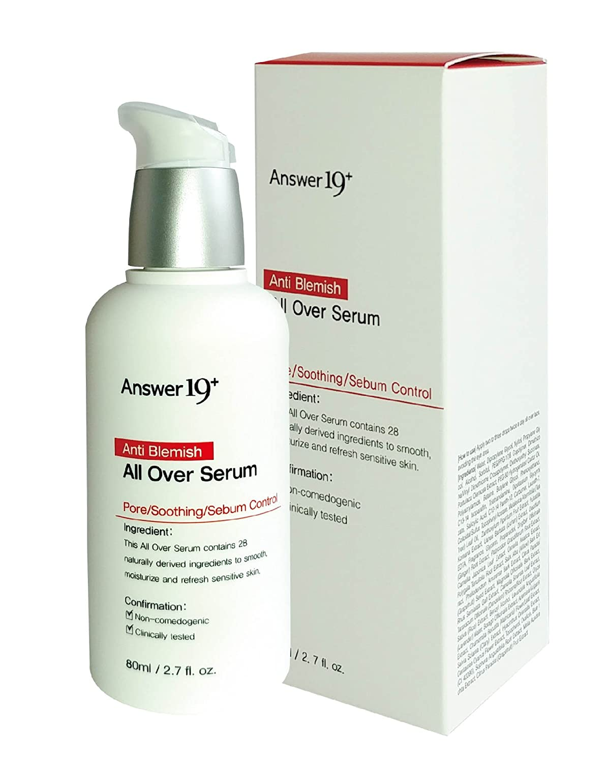 [ANSWER NINETEEN+] Anti Blemish All Over Serum – Minimize Skin Irritation with Ecocert Certified Ingredients, Pore Care, Peeling, Sebum Control, Skin Brightening, Anti-Wrinkle, 80ml / 2.8 fl. Oz