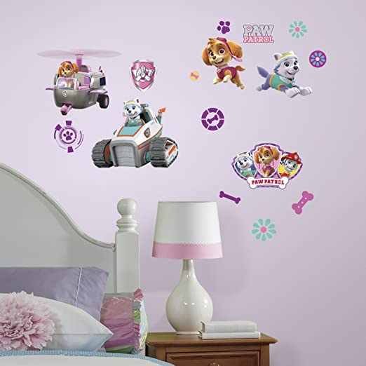 Amazon.com: RoomMates Paw Patrol Girl Pups Peel And Stick Wall Decals: Home Improvement