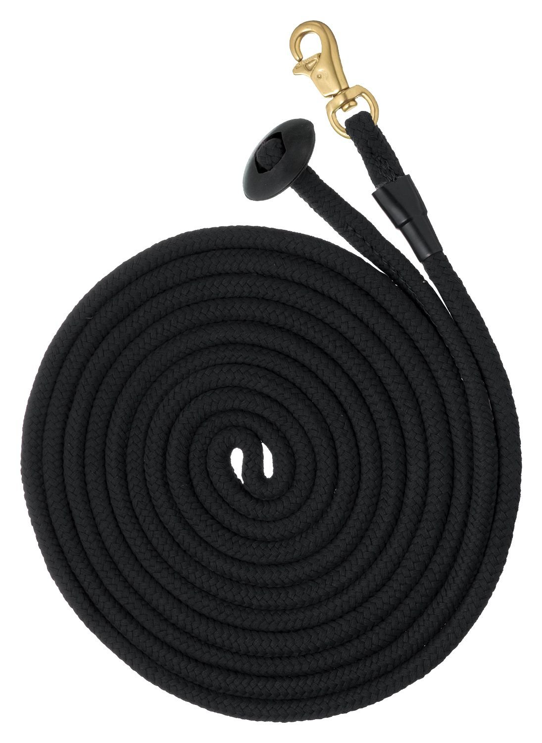 Black Tough 1 Rolled Cotton Lunge Line with Solid Brass Snap