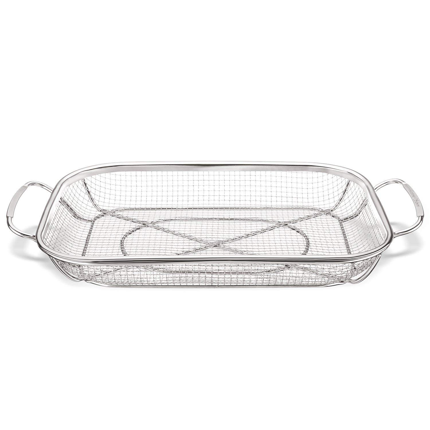 Grill Basket, Stainless Steel Grill Accessories Vegetables Grilling Basket BBQ Basket Barbecue Veggies Charcoal Grilling Topper Cookware for Outdoor Grill by Extreme Salmon