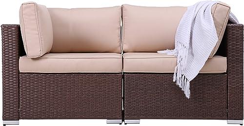 Patio Loveseats 2 Piece Outdoor All Weather Sectional Sofa Rattan Wicker Corner Sofa