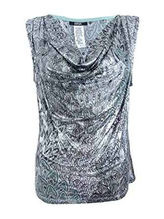 MSK Women s Printed Drape-Neck Blouse (XL