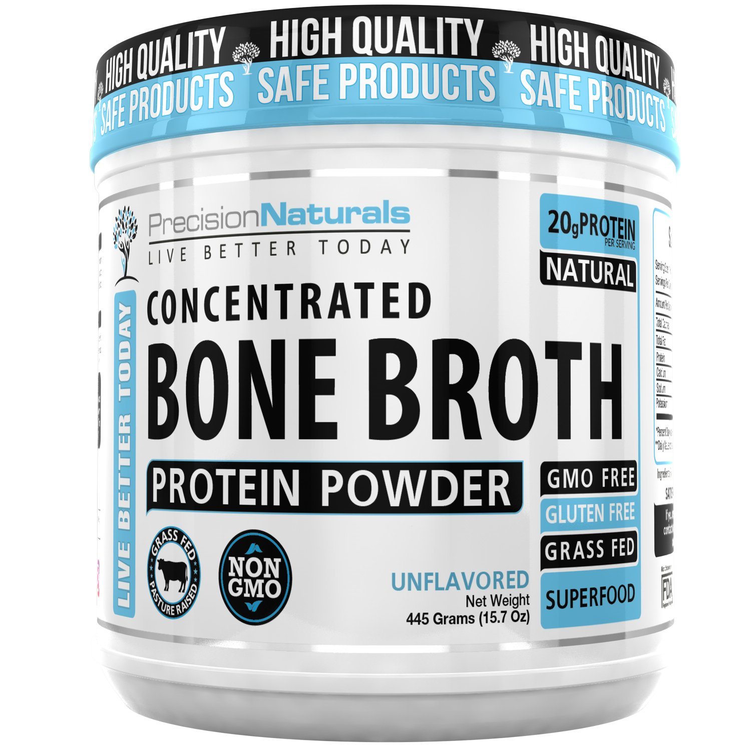 Bone Broth Protein Powder - Paleo/Keto Friendly - Natural Non GMO Grass Fed Beef - Gluten Free Unflavored Ancient Form of Nutrition Made Modern 445g/15.7oz 20 Servings. Collagen Peptides by Precision Naturals