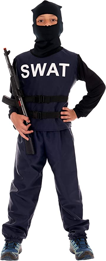 Disfraz de policía para niños Deluxe, uniforme completo SWAT ...