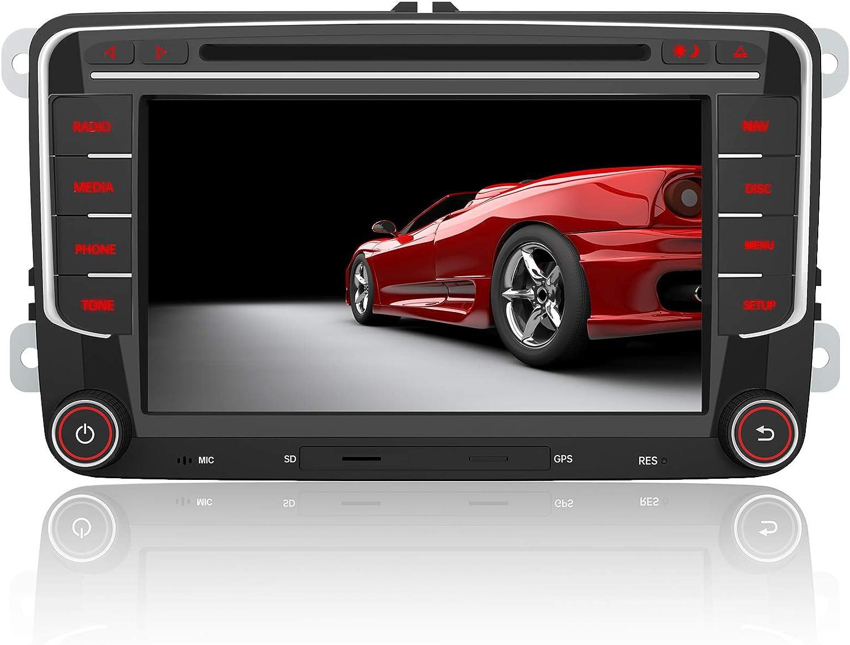 AWESAFE Radio Coche 7 Pulgadas con Pantalla Táctil 2 DIN para Volkswagen, Autoradio para VW Passat Seat Golf Skoda y etc. con Bluetooth/GPS/FM/RDS/CD DVD/USB/SD/RCA, Apoyo Mandos del Volante
