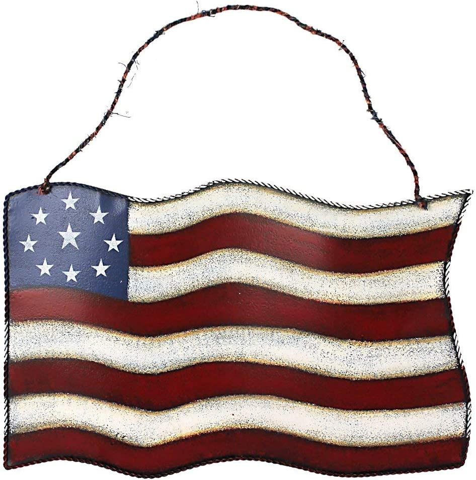 Rainbow Handcrafts Metal American Flag Hanging Wall Art Indoor Outdoor Patriotic July 4th Ornament Decoration 10''x14.8''(Large)