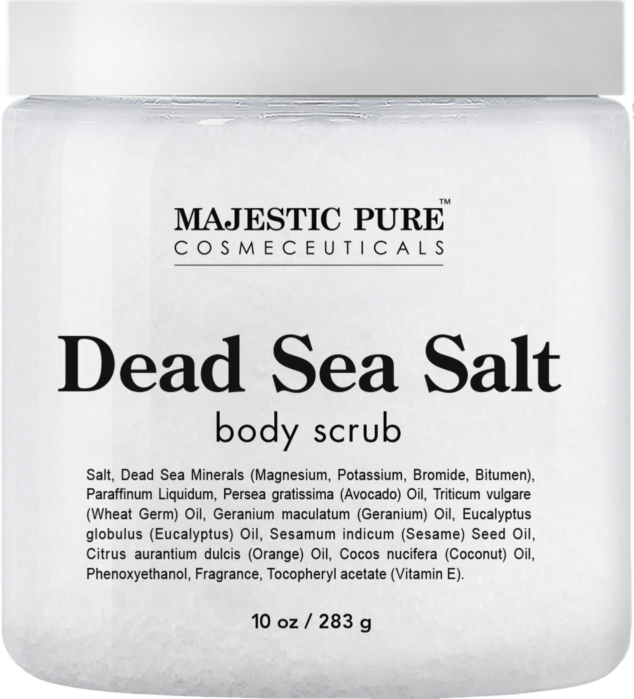 Dead Sea Salt Body Scrub by Majestic Pure - Infused with Aromatic Oils Exfoliates and Helps Conceal Stretch by Majestic Pure