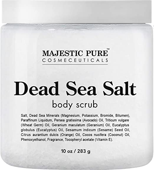 Dead Sea Salt Body Scrub by Majestic Pure - Infused with Aromatic Oils Exfoliates and Helps Conceal Stretch best body scrub