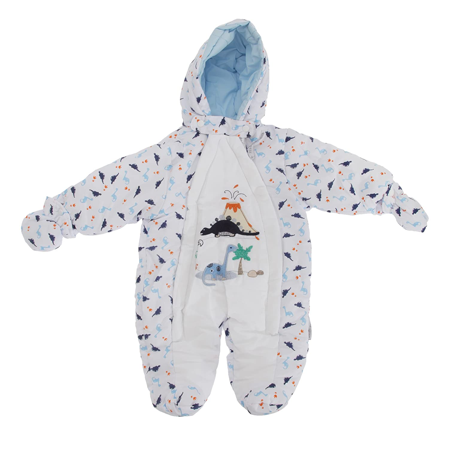 Baby Boys Dinosaur Volcano All In One Hooded Winter Snowsuit (3-6 Months) (White) Universal Textiles UTBABY1003_4