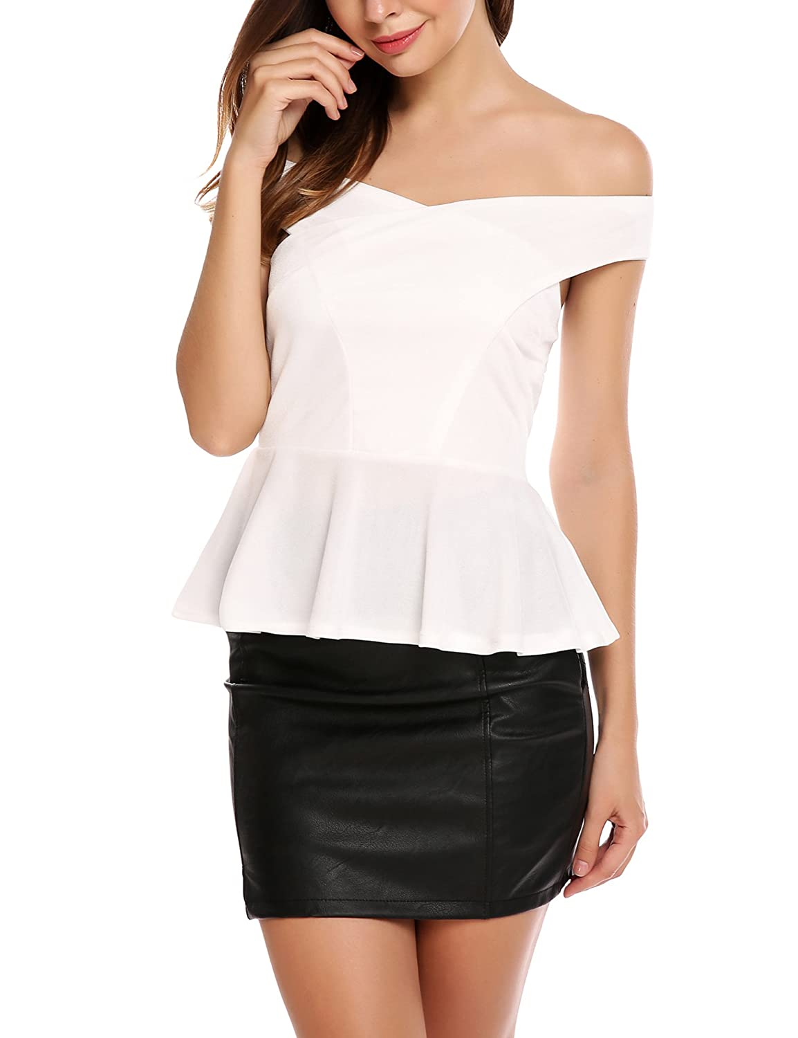 cecf5b2f2b232a Zeagoo Women Peplum Tops Sleeveless Ruffle Hem Sexy Off Shoulder Shirt  Cross Wrap Front Blouse at Amazon Women s Clothing store