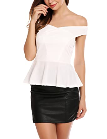 20886abcd5a1e Image Unavailable. Image not available for. Color  Zeagoo Women Peplum Tops  Sleeveless Ruffle Hem Sexy Off Shoulder ...