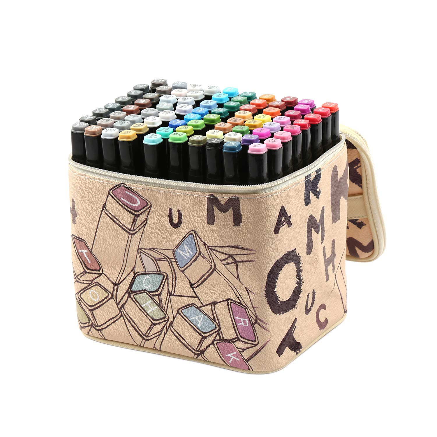 ioiomarker 80 Vibrant Colors Dual Tip Markers Alcohol-Based Permanent Marker Pen Set, Art Profession Drawing Coloring Pens, with Leather Gift Bag for Kids/Adults/Designer(Universal)