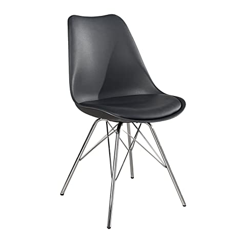 Invicta Interior Retro Designklassiker Stuhl Scandinavia Meisterstuck Grau Mit Hochwertig Verchromten Stuhlgestell