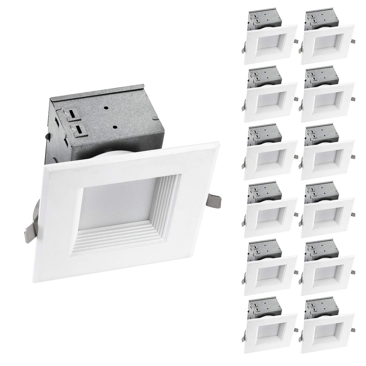 OSTWIN (12 Pack) 4 inch IC Rated Square LED Ceiling Recessed Downlight Kit With Junction box, Baffle Trim, Dimmable, 10W(75Watt Repl) 5000K Daylight, 700Lm. No Can Needed ETL and Energy Star Listed