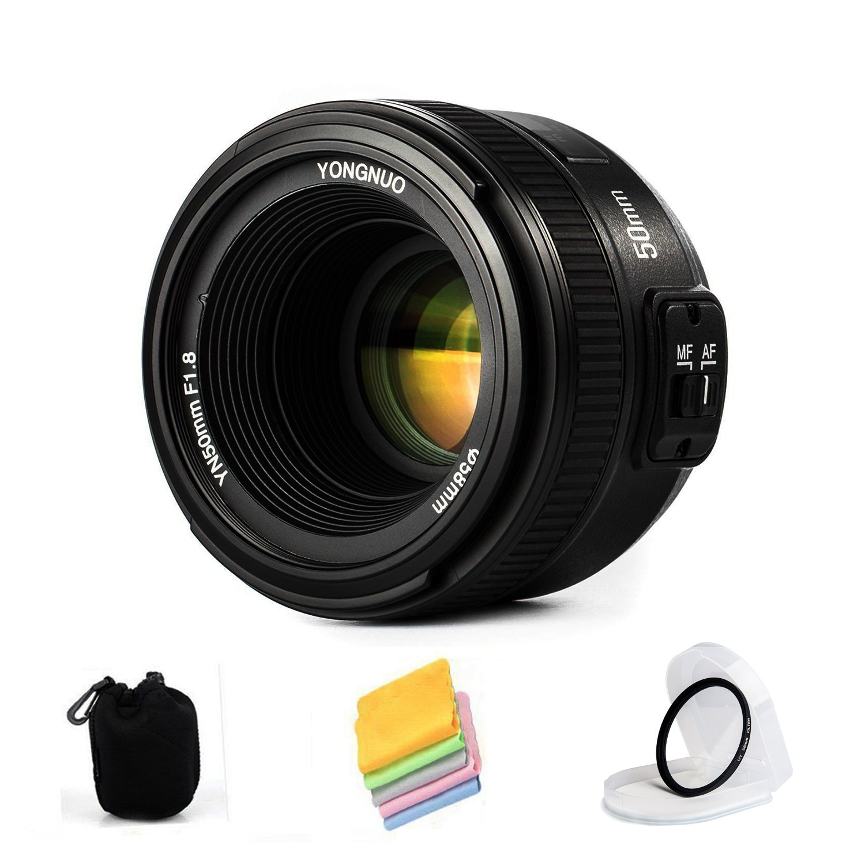 VILTROX YONGNUO YN50mm F1.8N Standard Prime Lens Large Aperture Auto Manual Focus AF MF for Nikon DSLR Cameras,with protective lens bag,lens filter by VILTROX